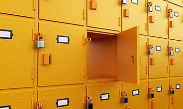 Yellow stacked lockers for rental and storage