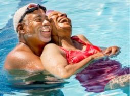 Two Senior Citizens in Pool